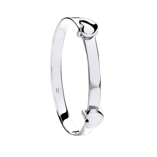 Baby Bangle Solid Sterling Silver Expandable Heart Baby Bracelet Christening