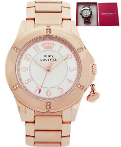REDUCED-Juicy-Couture-1901201-Ladies-039-Rich-Girl-Rose-Charm-Bracelet-Watch