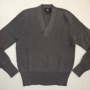395-RRL-Double-RL-Ralph-Lauren-100-Wool-V-Neck-Long-Sleeves-Ribbed-Sweater-XS