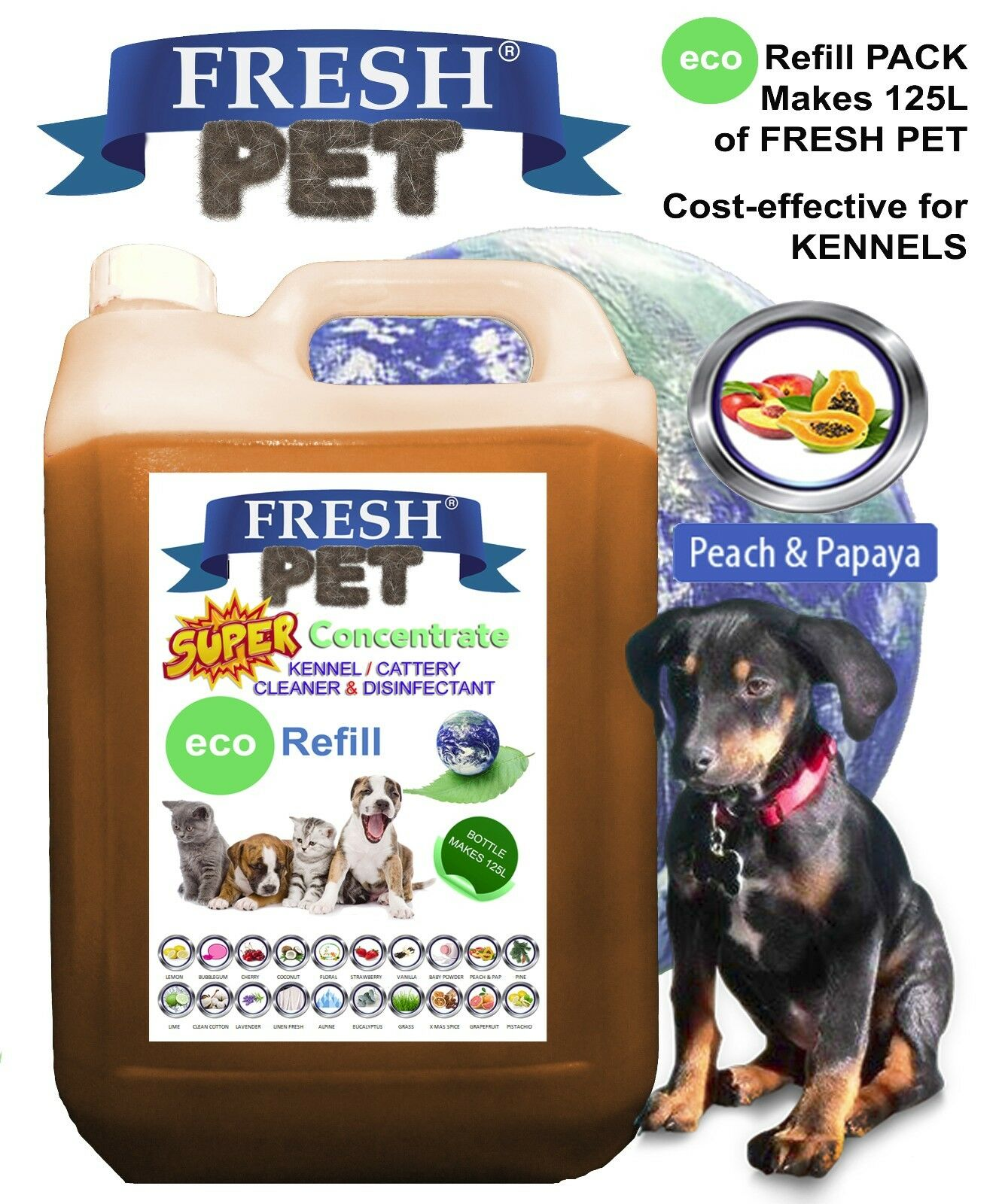 FRESH PET Concentrate Equiv 5 X 25L Disinfectant PEACH & PAP