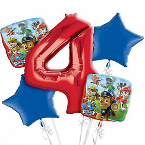 Image Is Loading PAW PATROL 4th Birthday Party 5x HELIUM BALLOONS