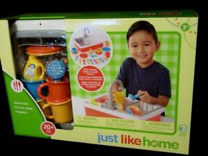 Details about TOYS-R-US *Just Like Home Kitchen Sink* 20pc Dishes Running  Water 4 Pretend Play