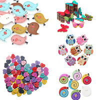 Mixed Bird Butterfly Owl Snail Polka Dot Heart  Wooden Buttons Sewing  Scrapbook