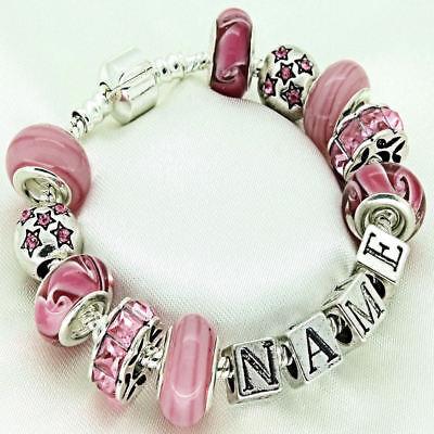 Personalised Girls Jewellery Pink Bracelet ENGRAVED Birthday Gifts FREEPOST