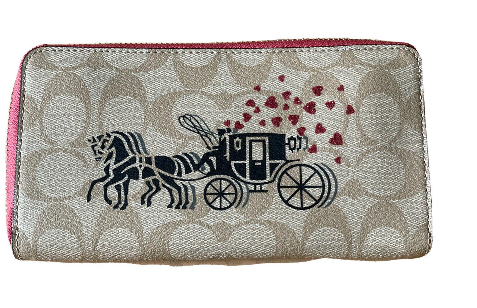 COACH Accordion zip wallet with Horse & Carriage Light Khaki / Poppy NWT