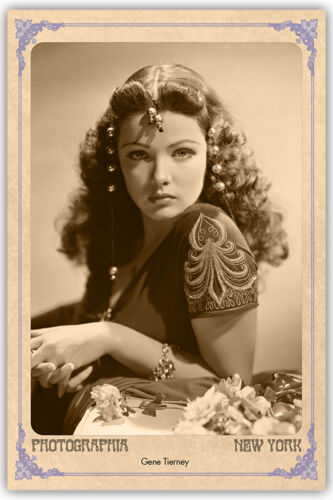 Screen Beauty Gene Tierney Vintage Photograph A+ Reprint Cabinet Card CDV
