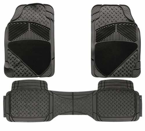 3 Piece Universal Fit Heavy Duty Black Rubber Car Non-Slip Floor Mats SUV 4x4