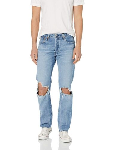 NEW Men/'s 32x36 Levi/'s 501 Button Fly Stretch Ripped Denim Jeans Righty Lefty