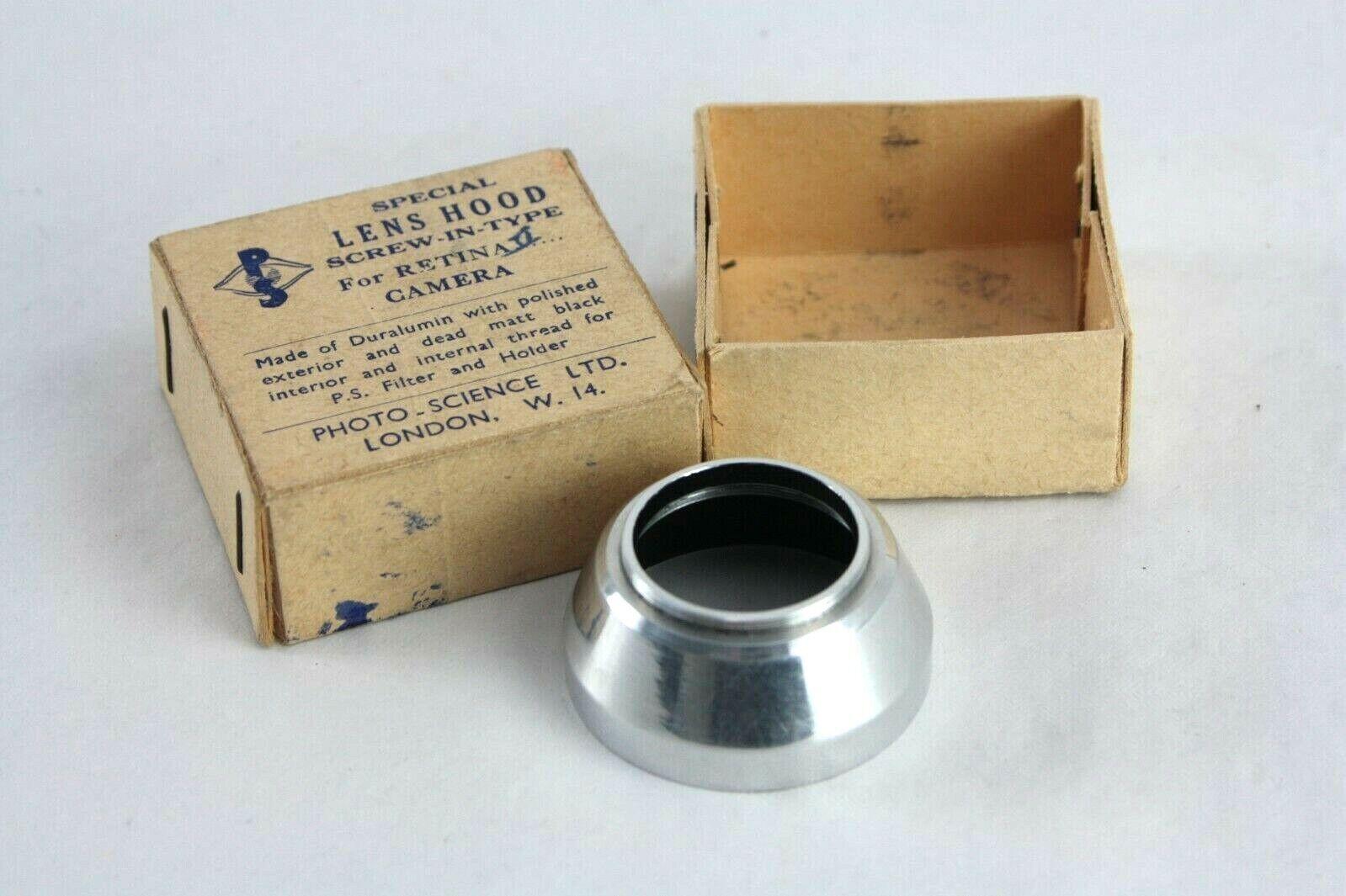 Vintage PHOTO SCIENCE DURALUMIN LENS HOOD for Kodak Retina II Camera, boxed