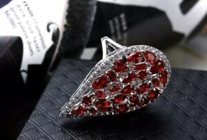 18k-White-Gold-Big-Ring-made-w-Swarovski-Crystal-Red-Garnet-Stone-Index-Ring