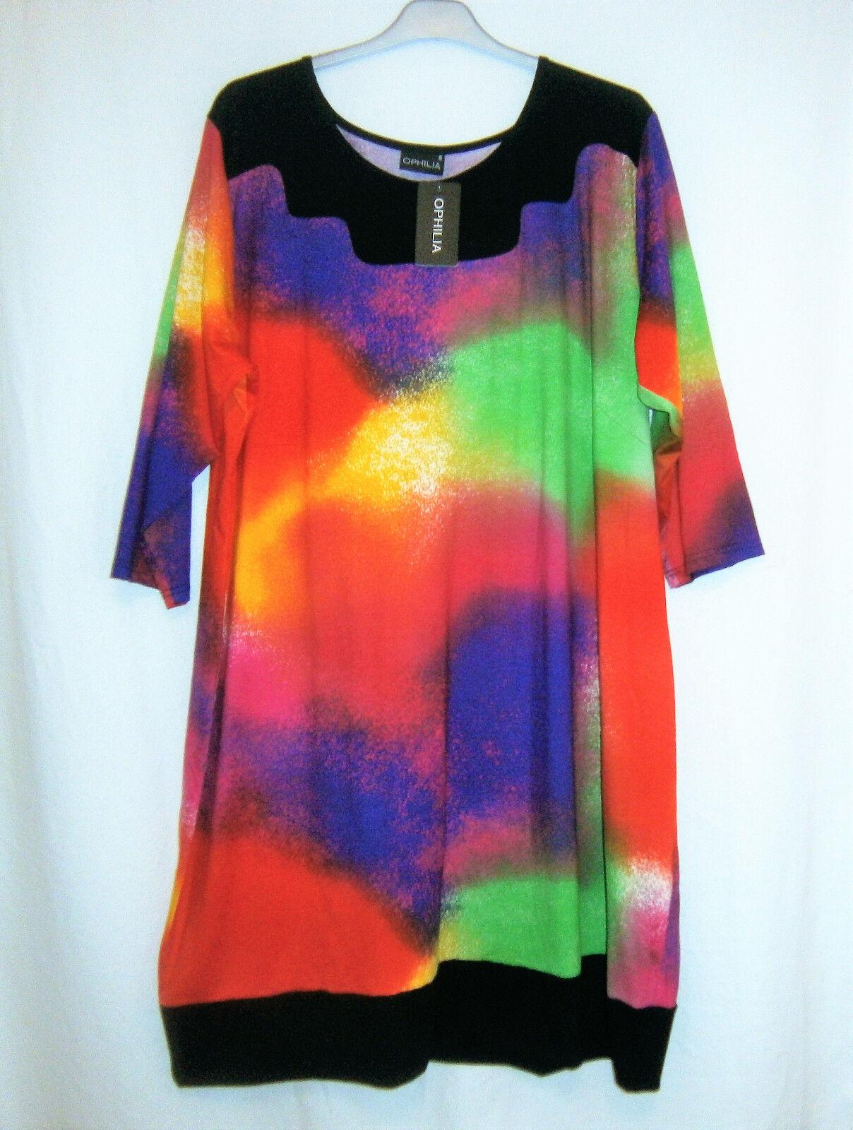 OPHILIA  elegantes Kleid Tunika 3 4 Arm mehrfarbig Gr. 52 54 anstatt