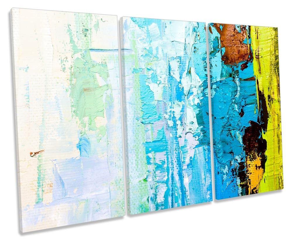 Blau Abstract Grunge Paint Framed TREBLE CANVAS PRINT Wall Art