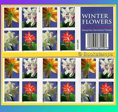 Usps Christmas Stamps.20 Winter Flowers Forever Stamps Us Postage Usps Booklet Floral Christmas Cactus Ebay