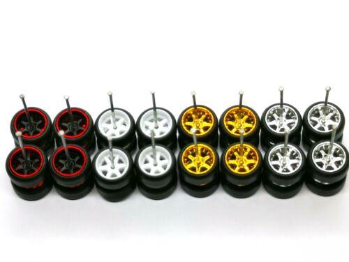 MIX for JDM 2019 1:64 4 colors Hot Wheels 6 Spoke  Rubber Tire  8 sets