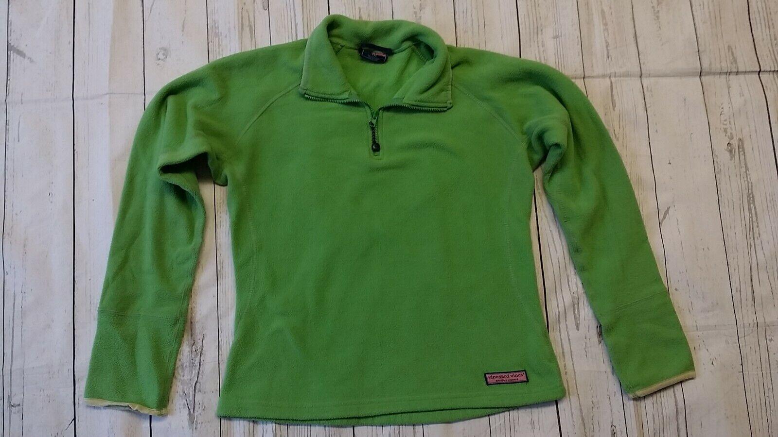 Martha's Vineyard Vines XXS Women Teen Green Fleece Jacket 1/4 Zip Pull Over