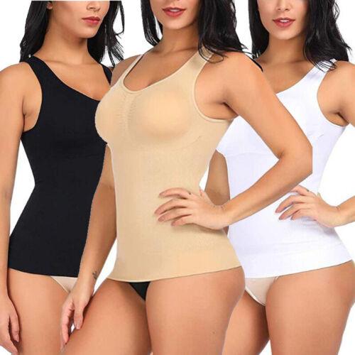 Damen Schwarz Abnehmen Tank Tops Atmungsaktiv Mieder Body Shaper T-shirt Corset