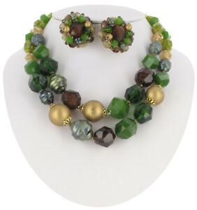 Jewelry-Set-Necklace-Clip-On-Earrings-Multicolor-Beaded-Cluster-West-Germany-50s
