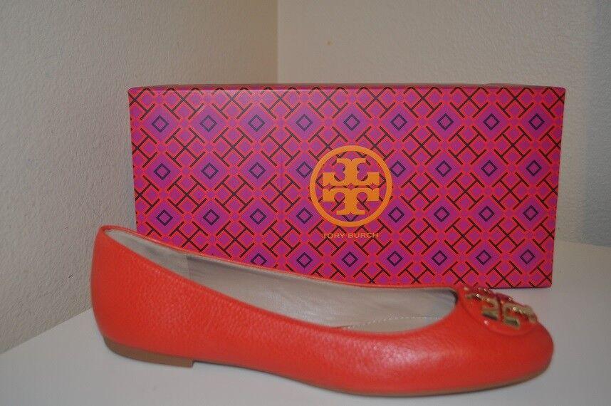 NIB Tory Burch CLAIRE Ballerina Ballet Flat Flat Flat shoes Samba Leather Logo 6 M orange 952911