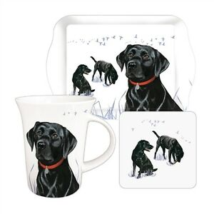 Labrador-Dog-Tea-Time-Gift-Set-Black-Lab-Mug-Biscuit-Tray-amp-Coaster-FREE-P-amp-P