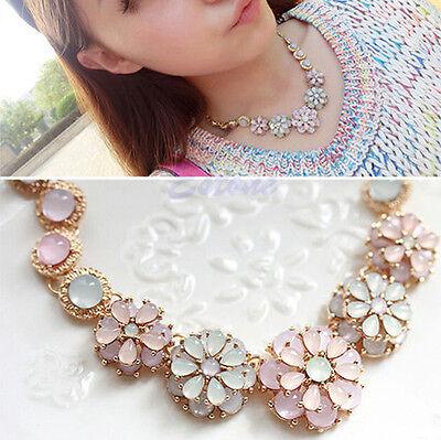New Womens Sweet Pearl Flower Pendant Metal Chain Collar Bib Statement Necklace
