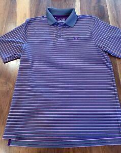Under-Armour-Men-039-s-Short-Sleeve-Polo-Style-Shirt-Heat-Gear-MD-Loose-Gray-Purple