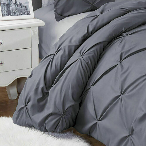 Duvet Cover With Pillow Cases Grey Quilt Cover Bedding Sets Single Double King