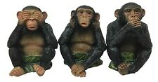 See Hear Speak No Evil Monkeys Chimpanzee Ape Small Figurine Set of 3 Sculptures