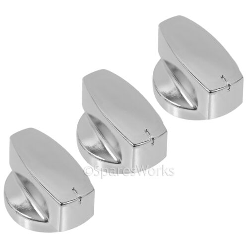 BELLING 1000DF Oven Cooker Control Knob Switch Gas Hob Silver Chrome Knobs x 3