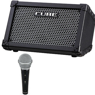 roland cube street battery powered guitar combo amp free vocal microphone ebay. Black Bedroom Furniture Sets. Home Design Ideas