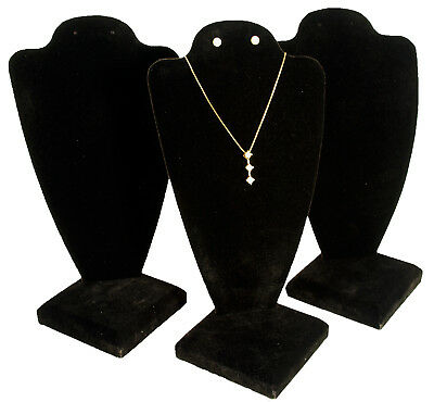 "3 Black Velvet Necklace Earring Jewelry Display 10"""