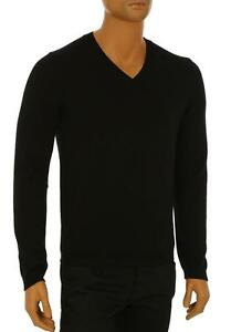 b0dc63f6711 NEW GUCCI MEN S CURRENT BLACK KNIT COTTON WEB DETAIL V-NECK SWEATER ...