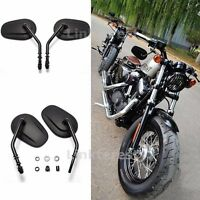 Black Classic Style Long Stem Teardrop Motorcycle Mirrors For Harley Davidson
