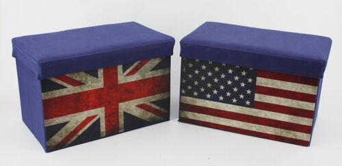 Dekobote, Aufbewahrungsbox XXL 31x46 cm Kinder USA / UK Hocker Faltbox Spielzeug