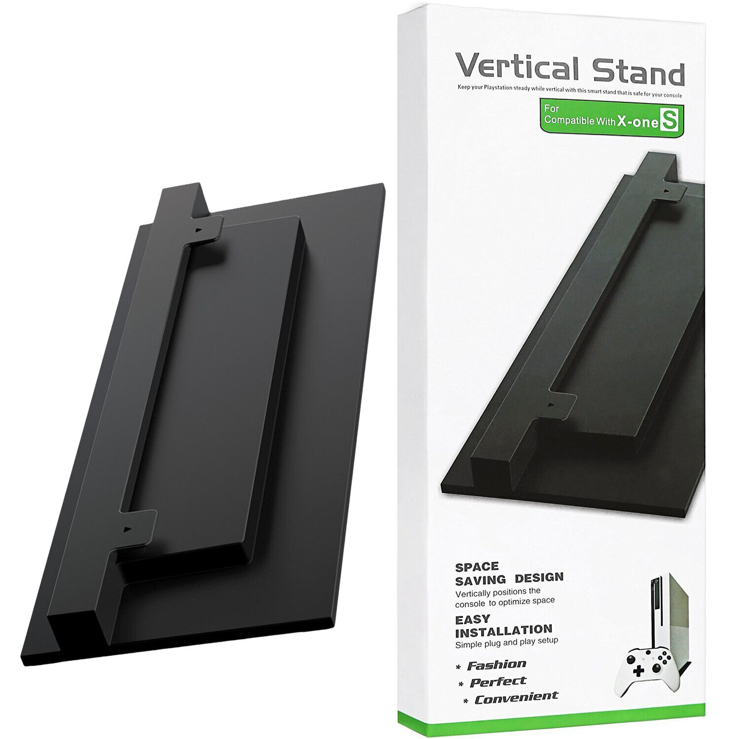 Black Vented Vertical Stand Dock Holder for Microsoft XBOX ONE S SLIM Console