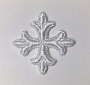Vintage-Frances-Cruz-Fleury-Bordado-para-Coser-Blanco-1-034-Emblem-Parches-12-Pieza