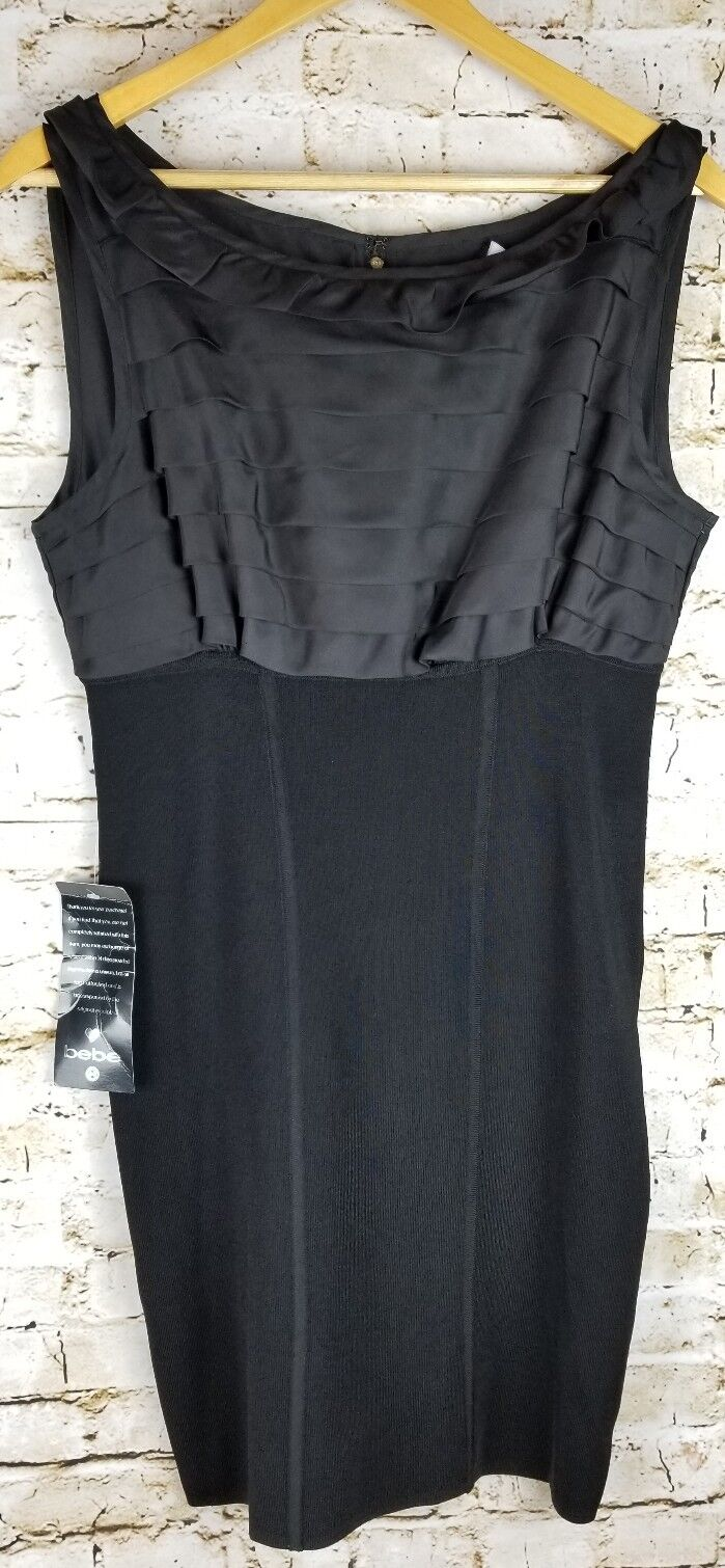 NWT BEBE SZ L schwarz Lined Dress Party Formal Occasion Pageant Cocktail