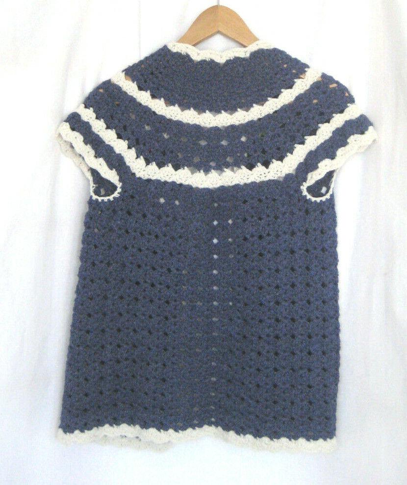 Vintage Women Hand Knit Crochet Short Sleeve Open… - image 2