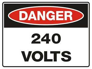 "Safety Sign ""DANGER 240 VOLTS 5mm corflute 300MM X 225MM"""