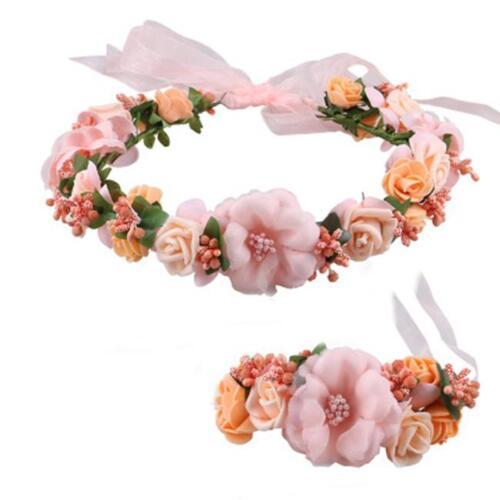 Flower Crown Wedding Hair Wreath Floral Headband Garland Wrist Band Set SI