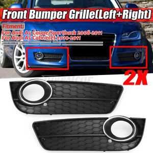 Pair-Front-Fog-Light-Grille-Grill-Cover-Chrome-Trim-For-Audi-A5-2008-2011-D