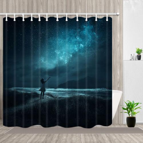 Dark Blue Starry Night Shower Curtain Bathroom Waterproof Polyester Fabric 71in