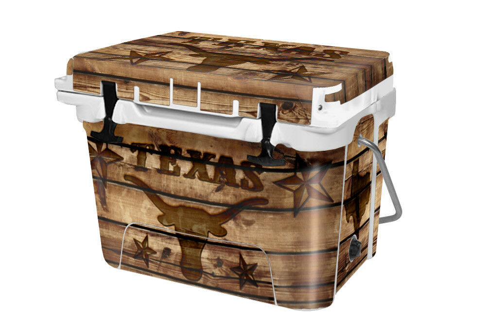 RTIC Wrap  Fits Old Mold  20qt Cooler 24mil Full Kit Texas Long Horn Wood