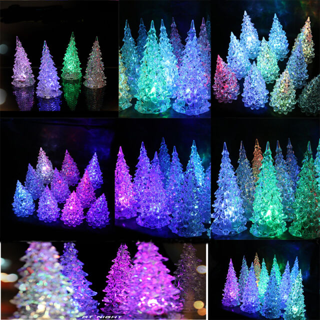Crystal Color Changing LED Lamp Light Garnish Mini Christmas Tree Gifts