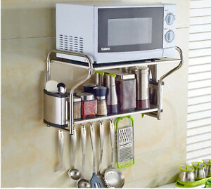 Details About Brand New 2 Layer Stainless Steel Microwave Oven Wall Mount Shelf With Removable