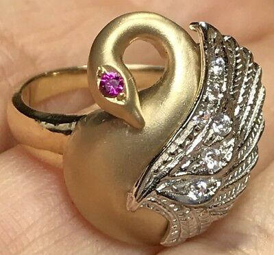 Gold Swan Ring 14k Yellow White Simulated Diamond Ruby 7 4 5 6 8 9