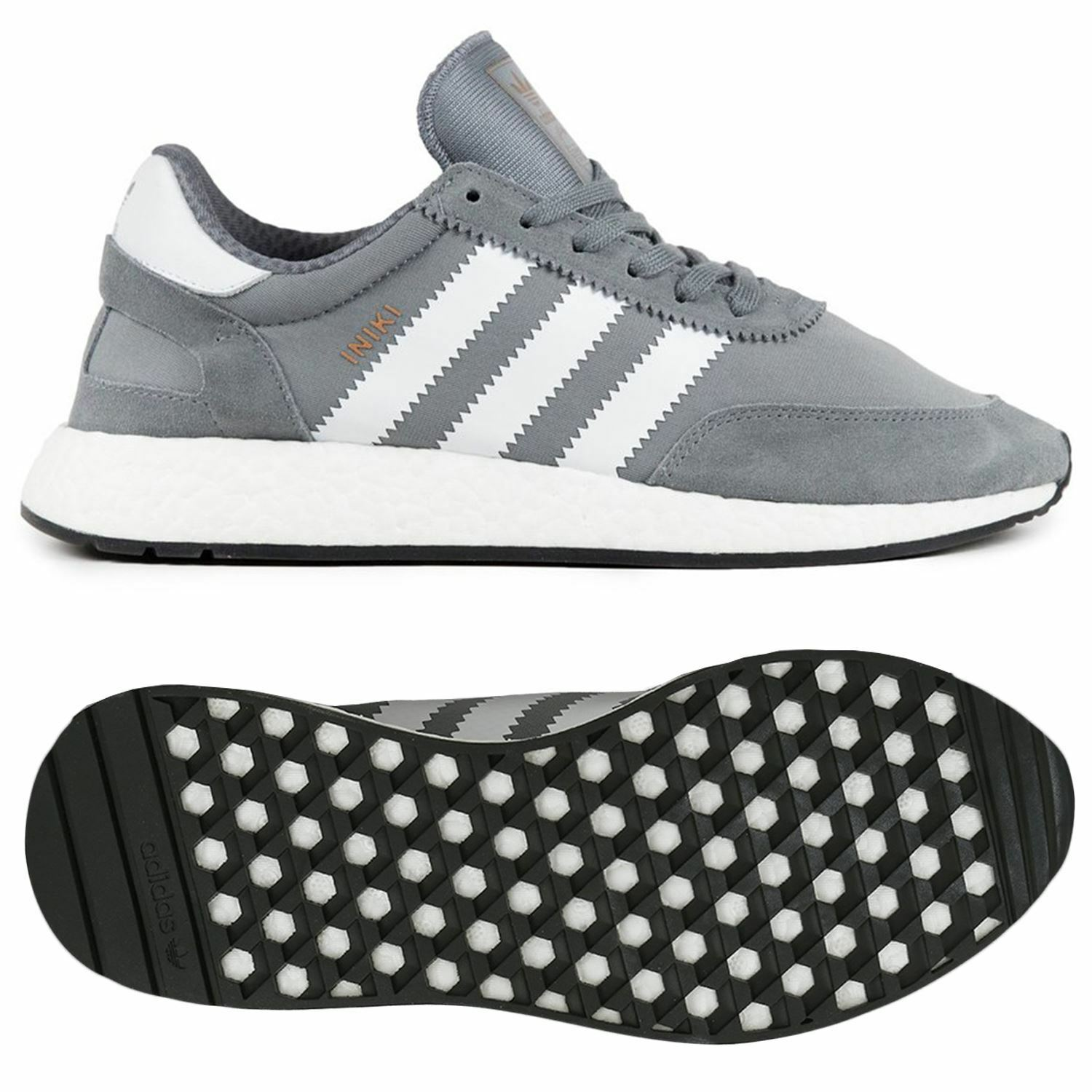 adidas ORIGINALS INIKI RUNNER TRAINERS UNISEX GREY RETRO VINTAGE FITNESS B GRADE