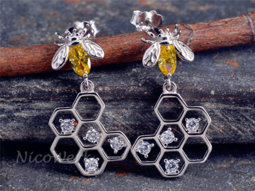 Silber Ohrringe Biene Bienenwaben Gelb Kristall Mit stein Zirkonia Verspielt 925