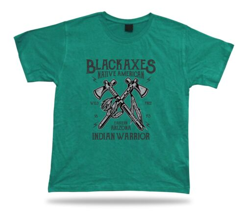 Black axes native American Indian warriors stylish vintage t shirt tee design