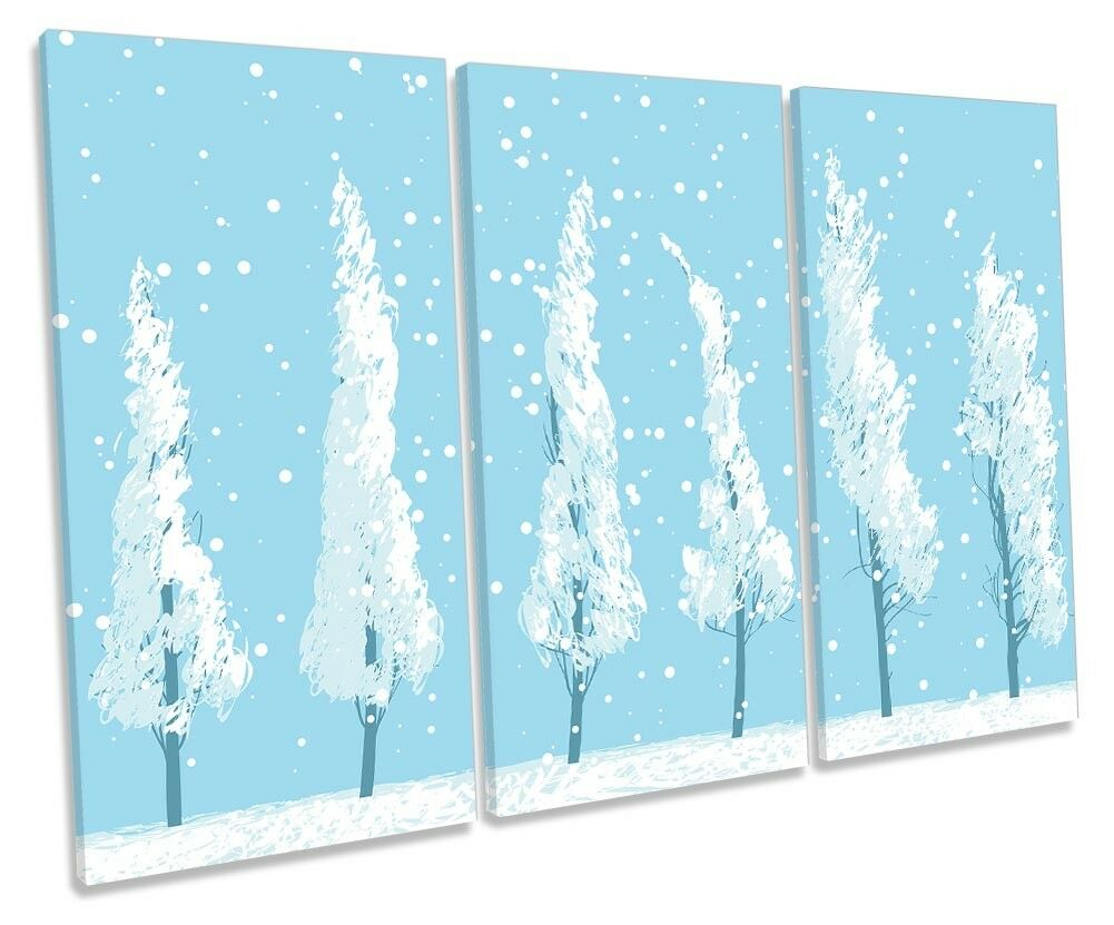 Blau Winter Trees Snow Framed TREBLE CANVAS Drucken Wand Kunst