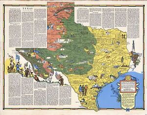 1939-TEXAS-state-pictorial-map-history-folklore-whimsical-POSTER-Aitchison